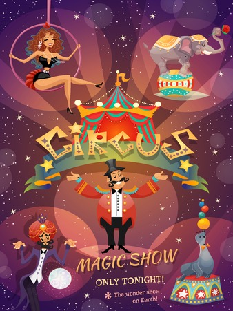 circus animal: Circus show poster with acrobat animals and magician vector illustration