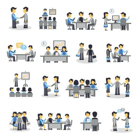 Iconos plana fijados con símbolos de trabajo en equipo del proyecto la gente de negocios aislados ilustración vectorial de reuniones