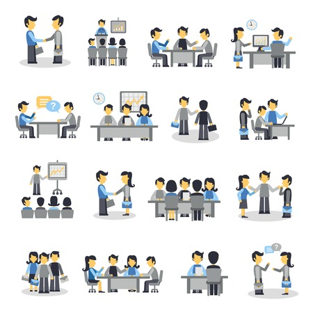 teamwork cartoon: Meeting icons flat set with business people project teamwork symbols isolated vector illustration