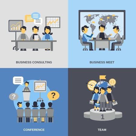 Meeting design concept set with business consulting team conference flat icons isolated vector illustration Illustration