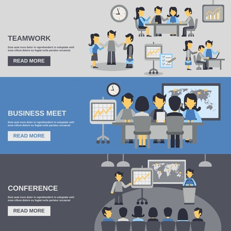sales meeting: Meeting horizontal banner set with teamwork and business conference elements isolated vector illustration
