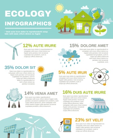 Eco energy infographics with ecology and green fuel symbols set vector illustration