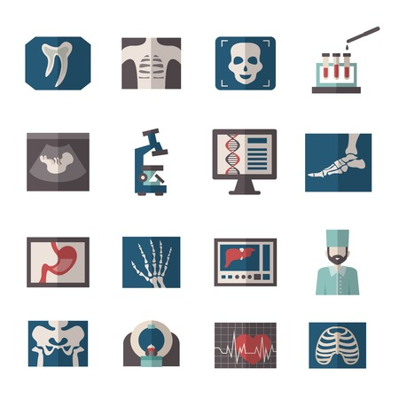 colonoscopy: Medical ultrasound and x-ray procedures icons flat set isolated vector illustration