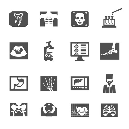 Echografie en x-ray medische apparatuur pictogrammen zwarte set geïsoleerd vector illustratie Stock Illustratie