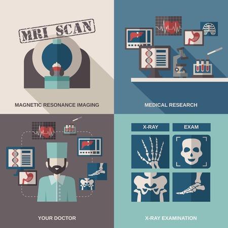 resonancia magnética: Ultrasonido concepto de diseño de rayos X establece con la investigación médica iconos planos examen médico aislado ilustración vectorial
