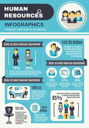 job interview: Human resources infographic set with business people organization information vector illustration