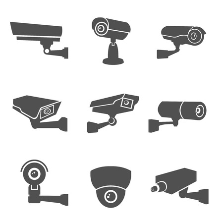 security camera: Digital surveillance camera black flat icons set isolated vector illustration