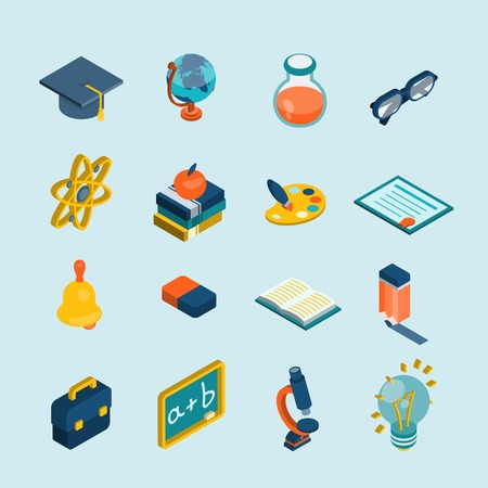 Education isometric set with 3d glasses lightbulb blackboard globe isolated vector illustration Vector