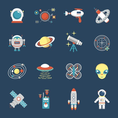 astronaut in space: Fiction icon set with aliens space shuttle cyborg weapons isolated vector illustration