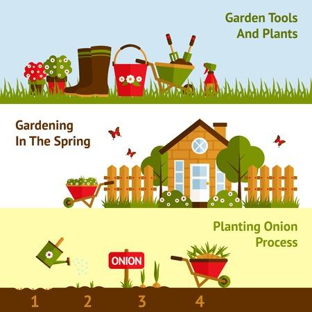 regando plantas: Jardinería banners horizontales establecidas con plantas y herramientas de proceso de siembra aislado ilustración vectorial Vectores