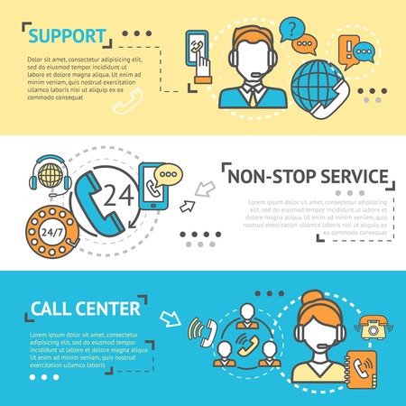 nonstop: Call center horizontal banner set with non-stop support service elements isolated vector illustration