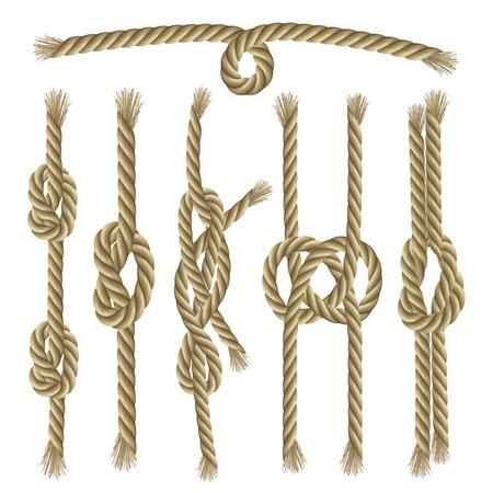 nudos: Sailor torcido cuerdas y nudos elementos decorativos conjunto de la colecci�n ilustraci�n vectorial aislado Vectores