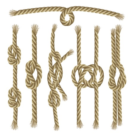 ropes: Sailor twisted ropes and knots decorative elements collection set isolated vector illustration