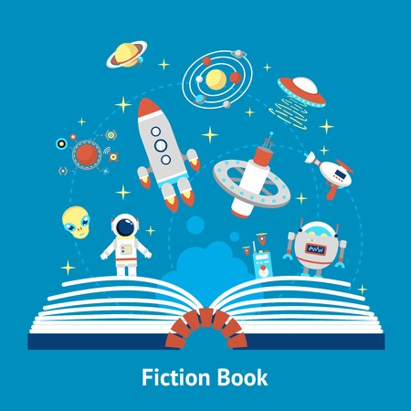 Open fiction book concept with future space mysterious symbols vector illustration