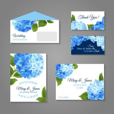 mazzo di fiori: Biglietti d'invito di nozze set con ortensia bouquet di fiori, illustrazione vettoriale Vettoriali