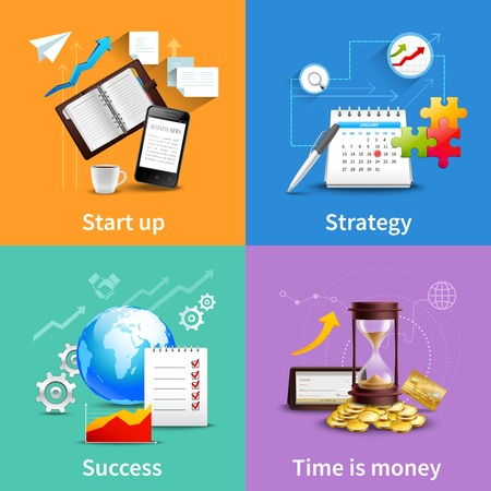 job search: Business design concepts set with start up strategy success time is money realistic icons isolated vector illustration Illustration