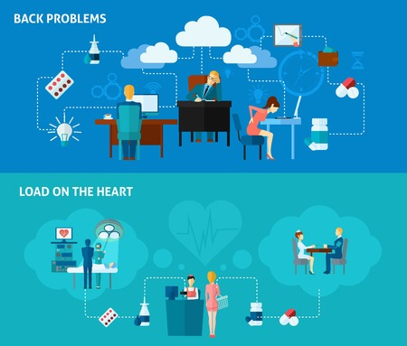low back: Sedentary horizontal banner set with back and heart problems elements isolated vector illustration Illustration