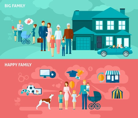 business relationship: Family horizontal banner set with happy people relationships elements isolated vector illustration