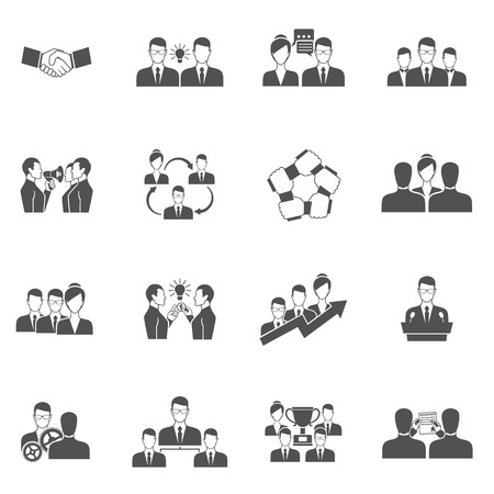 business teamwork: Teamwork business communication management and collaboration icons black set isolated vector illustration Illustration