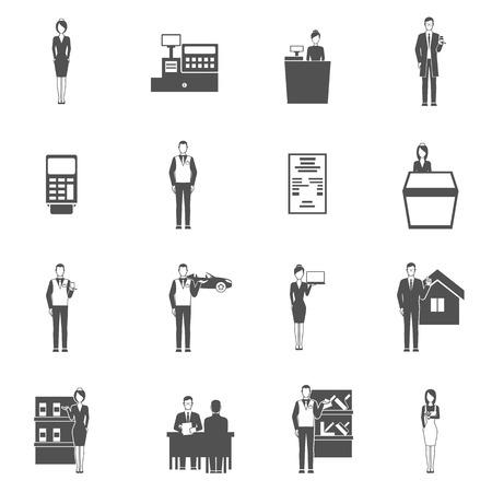 dealer: Salesman black icons set with shop receipt car dealer figures isolated vector illustration