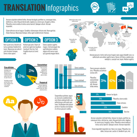 Translation foreign language interpreting worldwide electronic dictionaries options preferences diagrams charts and map report abstract vector illustration Illustration