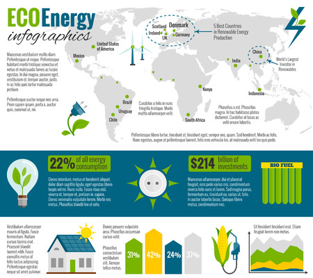 bio fuel: Eco natural green energy and bio fuel production and worldwide distribution infographic report presentation abstract vector illustration