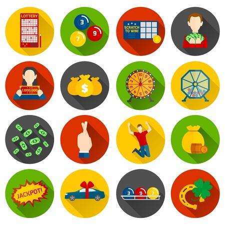 loteria: Icono de la Loter�a plana fija con dinero y de azar s�mbolos aislados ilustraci�n vectorial Vectores