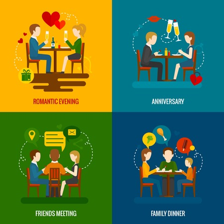 friends eating: People in restaurant occasions design concept set with romantic evening anniversary friends meeting family dinner flat icons isolated vector illustration