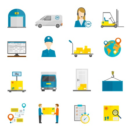 warehouse: Logistic express global delivery service icons flat set isolated vector illustration