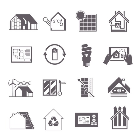 electricity supply: Energy saving house effective home systems icon set isolated vector illustration Illustration