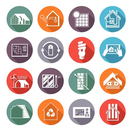 temperature: Energy saving house temperature and ventilation monitoring flat icons set isolated vector illustration