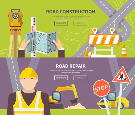 road line: Road worker horizontal banner with flat construction and repair elements isolated vector illustration