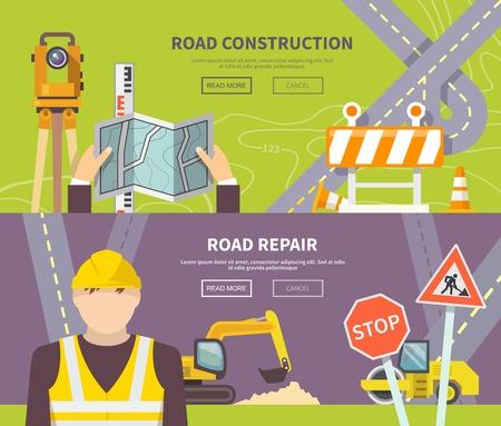 Travailleur de la route bannière horizontale avec construction et de réparation des éléments plats isolé illustration vectorielle Banque d'images - 39262420