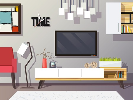 living room wall: Living room interior concept with modern furniture set flat vector illustration