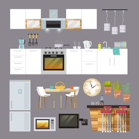 fridge: Kitchen interior and furniture decorative icons flat set isolated vector illustration