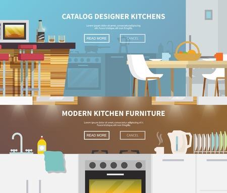 banner orizzontali: Cucine banner orizzontale set con elementi di design piatto isolato illustrazione vettoriale