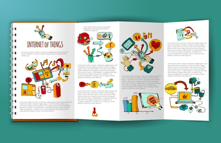 Internet of things brochure template with hand drawn remote control systems elements vector illustration Çizim