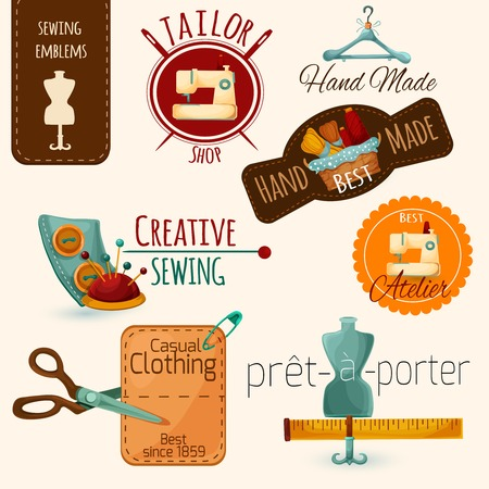 maquinas de coser: Sastrer�a costura y confecci�n de moda emblemas establecer ilustraci�n vectorial aislado Vectores