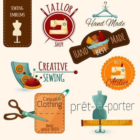 needle cushion: Sewing tailoring and fashion dressmaking emblems set isolated vector illustration