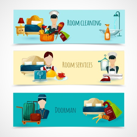 room service: Hotel horizontal banner set with doorman and room cleaning service elements isolated vector illustration