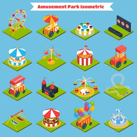 amusement park rides: Amusement park isometric icons set with 3d ferris-wheel ice cream and balloons isolated vector illustration