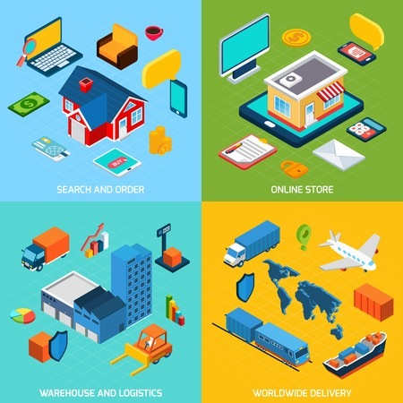 shopping order: Online store and delivery design concept set with search order warehouse and logistics isometric icons isolated vector illustration