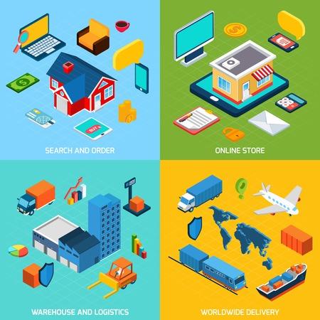 orden de compra: Tienda en línea y entrega concepto de diseño conjunto con la búsqueda de almacén y logística para los iconos isométricos ilustración vectorial aislado