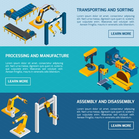 manufacturing occupation: Robotic arms horizontal banners set with isometric manufacturing process products transporting vector illustration Illustration