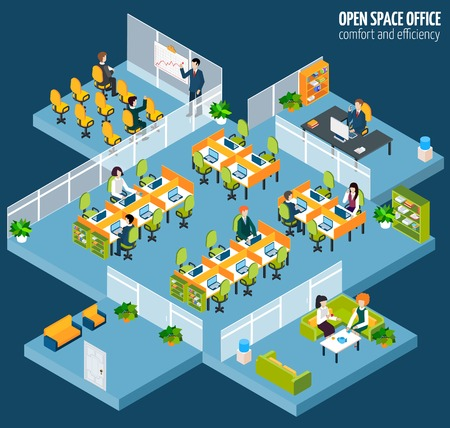 commerce communication: Open space office with isometric business company interior and people vector illustration Illustration