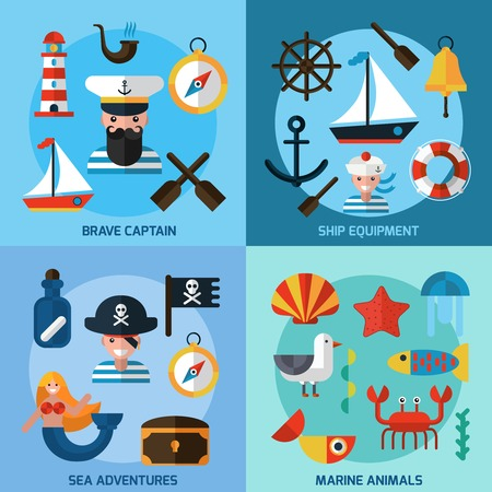 captain ship: Nautical design concept set with captain ship equipment marine animals flat icons isolated vector illustration Illustration