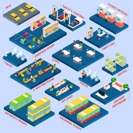 passenger buses: Concepto de estación de autobuses con espera isométrica aseos sala de equipaje y los iconos de café ilustración vectorial