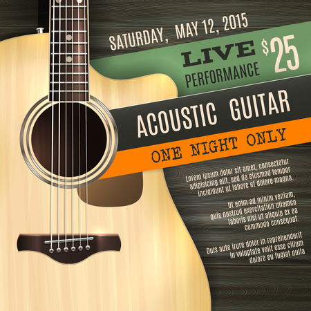 live music: Indie musician concert show poster with acoustic guitar vector illustration