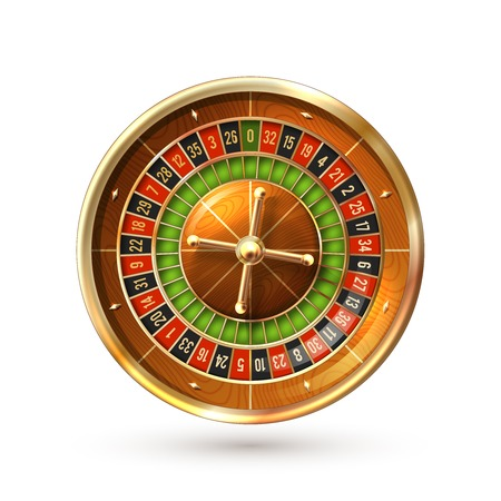 roulette wheels: Realistic casino gambling roulette wheel isolated on white background vector illustration