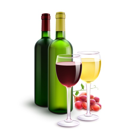 white wine: Red and white realistic wine bottles set with glasses and grape bunch vector illustration